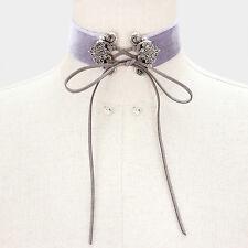 "12"" velvet victorian corset collar choker Necklace .25"" earrings 1.25"" wide"