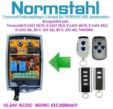 NORMSTAHL compatible 2-channel receiver for EA433 2KM, 2KS, RCU 433 2K remotes