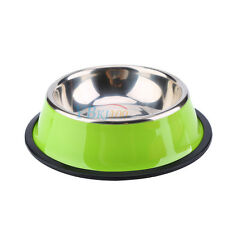 Pets Cat Dog Puppy Anti Skid Stainless Steel Feeding Food Drink Bowl Plate DH Green L 26cm