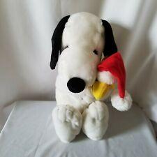 """Peanuts Snoopy Woodstock Stuffed Animal Plush Santa Hat Christmas 14"""" Applause"""
