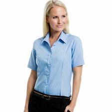Ladies New Blue Work business office Shirt Short Sleeve shirt Kustom Kit KK387