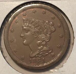 1851 HALF CENT ,  brown AU/ UNC , scarce