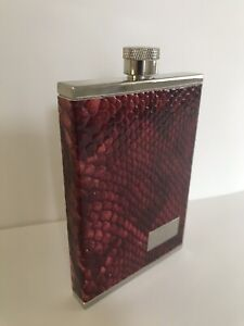 Hip Flask For Men / Women 8 oz. Red Snake Skin like raised design