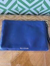 whistles royal blue clutch wristlet Faux leather bag, black wrist strap