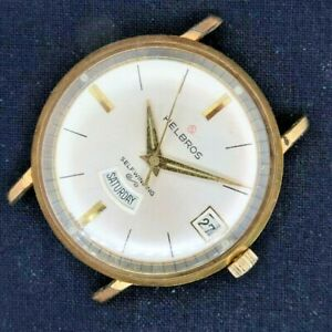 Vintage Helbros 17J Automatic Men's Watch German PUW 1363 Runs + Day and Date
