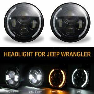 "2Pcs 7""Inch Round LED Headlight DRL Turn Light For Jeep Wrangler JK TJ Kenworth"