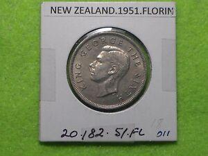 NEW ZEALAND - 1951 ONE FLORIN - PREDECIMAL COIN. Copper/Nickel.
