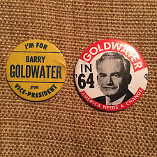 2 - 1964 Barry Goldwater for VP GOL-2090 & President Republican  Buttons Pins