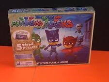 Cardinal Brand New Sealed PJ Masks 5 Wooden Puzzles In Wood Storage Box
