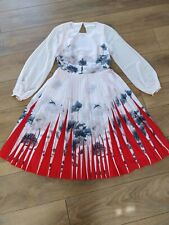 TED BAKER PRITCHA FLORAL PLEATED Dress Size 1/UK8/US4
