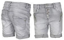 Lexxury Damen Shorts Bermuda Hot Pants Hose Jeans Boyfriend Chino Röhre Grau