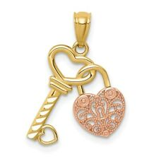 14k Two-tone Gold Polished Filigree Heart Lock & Shiny-Cut Key Pendant
