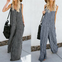 UK Women Sleeveless Stripe Wide Leg Jumpsuits Strapped Casual Playsuit Trousers
