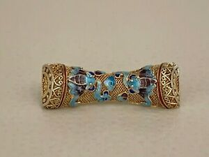 Amazing Vintage Chinese Gilded Filigree Silver Enamel Brooch Pin