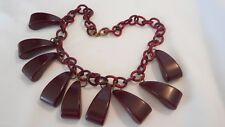 Vintage Unsigned Bakelite Necklace Dangling Dark Wine Beads Celluloid Chain  AnB