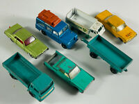 Lot (7) Lesney Matchbox Toy Car Trucks taxi trailer MIXED used see pics