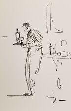 JOSE TRUJILLO OIL PASTELS Painting Expressionist Minimalism 13X19 WAITER BAR ART