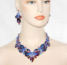 Unique Pink Blue AB Sapphire Rhinestone Crystal Necklace & Drop Earrings Set