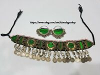 Afghan Nomad Kuchi Multicolour coins Necklace,Tribal Choker and Earrings