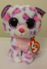 """Ty Beanie Boos - SERENA 6"""" Snow Leopard ~ Justice Exclusive ~ 2015 NEW ~IN HAND"""