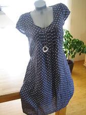 legeres Leinenkleid Kleid Punkte DOTS 100% Leinen marineblau blau 42 NEU ITALY