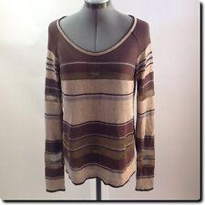 Chan Luu Brown Scoop Neck Sweater small
