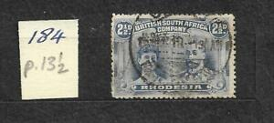 1910 Rhodesia British south Africa co double head stamp 2 1/2d per 13 1/2 SB2