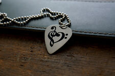 Clef Heart Etched Nickel Silver Guitar Pick Necklace