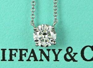$7,700 Tiffany & Co Platinum 0.70ct G VS1 Round Diamond Pendant 18'' Necklace