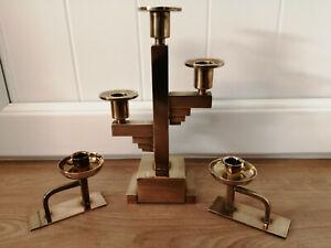 Unusual Art Deco brass candlesticks & candelabra weigh over 2.5kg