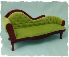 1/12th scale Dolls House Miniature Green Chaise Longue or Fainting Couch