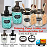 Mason Jar Foaming Soap Dispenser Pump Apothecary Holder &Toothbrush Holder Lids