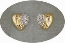 18 KT GOLD OVER STERLING SILVER DIAMOND EARRINGS