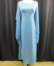 Papell Boutique Blue Gown Prom Dress Full Length Sleeveless Sheer Wrap Scarf 4