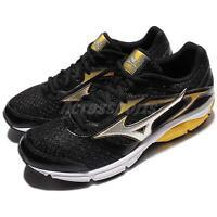 Mizuno Wave Impetus 4 Black Silver Yellow Men Running Shoes Sneakers J1GC1613-19
