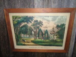 """Antique original Currier & Ives """"Sunnyside - on the Hudson""""  (1860-70)"""