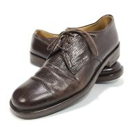 Giorgio Armani Mens  Size 8 Dress Shoes Brown Texture US Lace-Up Derby Italy EUC