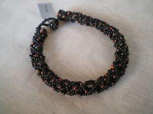 Handmade in Kenya black and brown lattice bead bracelet, 8.5 inches in length