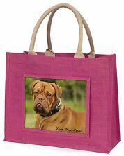 Dogue De Bordeaux 'Love You Mum' Large Pink Shopping Bag Christmas, AD-DB2lymBLP