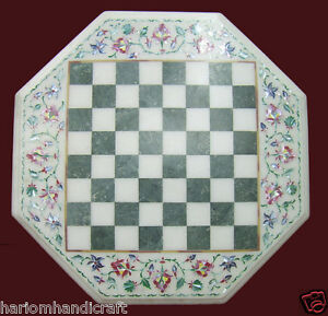 """15"""" Marble Coffee Chess Table Top Rare Stone Mosaic Inlaid Kitchen Decor H2075"""