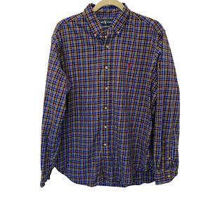 Ralph Lauren Polo Shirt Men's Size Large Long Sleeve Classic Fit Plaid Blue