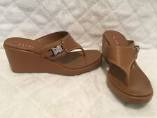 PRADA TAN LEATHER SANDALS WITH WEDGE SIZE 8 TO 8.5