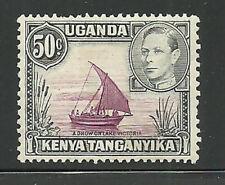 Album Treasures Kenya, Uganda, Tang. Scott # 79a 50c George VI  Dhow VFU