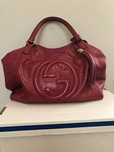 Authentic Gucci Pink Pebbled Leather Double G Soho Large Hobo Handbag Beautiful!
