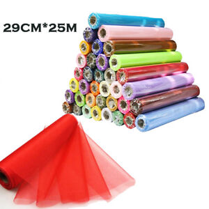 26M X 29CM DIY Sheer Organza Roll Tulle For Chair Sashes Bows Table Runner