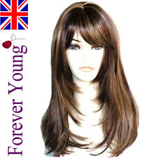 Ladies Long Blonde Wig Brown Blonde 2 Tone Mix Fashion Wig Face Frame Style.