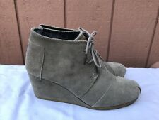 Toms Ankle Boots Wedges Lace Up Booties Light Tan Beige Suede Woman's Size US 10