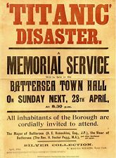 TITANIC DISASTER Memorial Service Poster Battersea Town Hall London Silver Cln