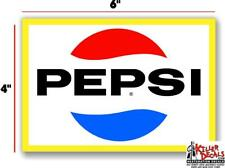 """(PC225) 6"""" YELLOW PEPSI FOR SODA POP VENDING MACHINE DECAL COOLER OR GUMBALL"""
