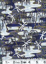WEEPING WILLOW & DRAGONFLIES - Bluel/Gold Asian Japanese Quilt Fabric (BTY)